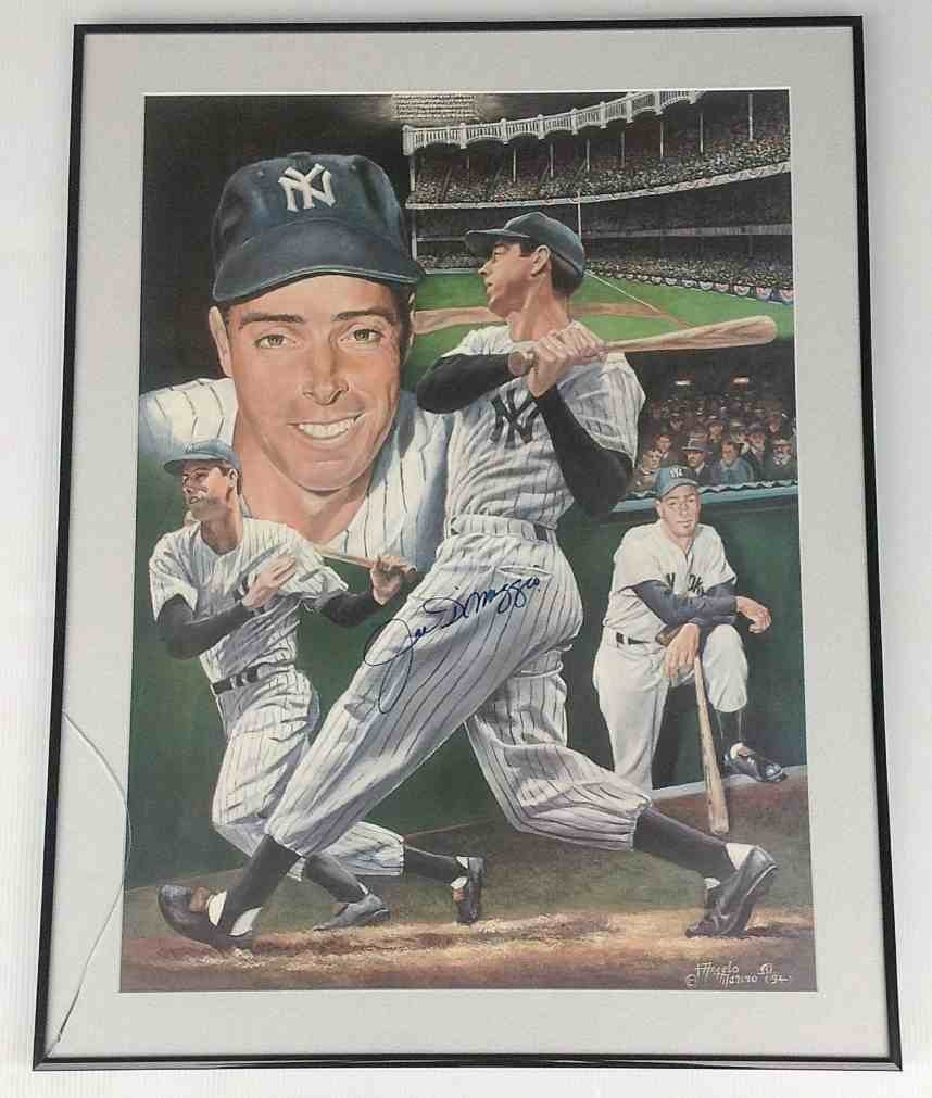 JOE DIMAGGIO SIGNED MULTI IMAGE PRINT, BY ANGELO