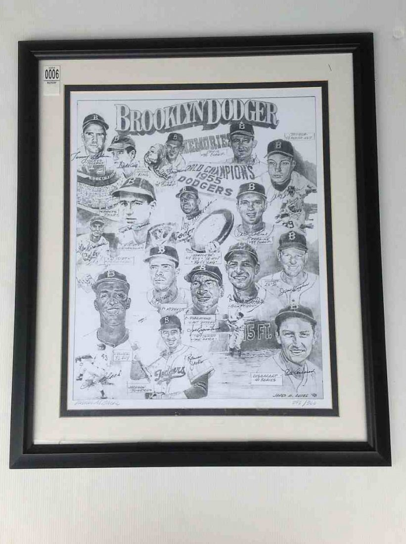 BROOKLYN DODGERS SIGNED LE PRINT BY 16 PLAYERS 292/300,