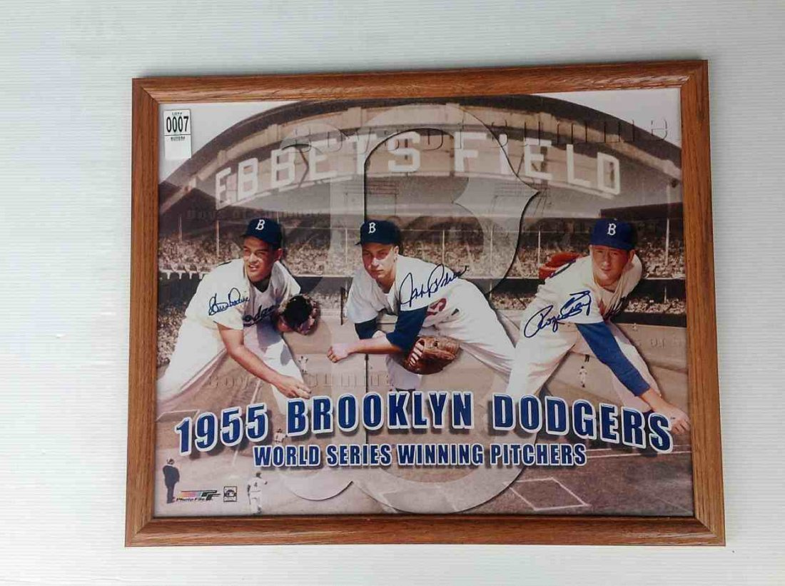 1955 BROOKLYN DODGERS WINNING PITCHERS SIGNED BY CLEM