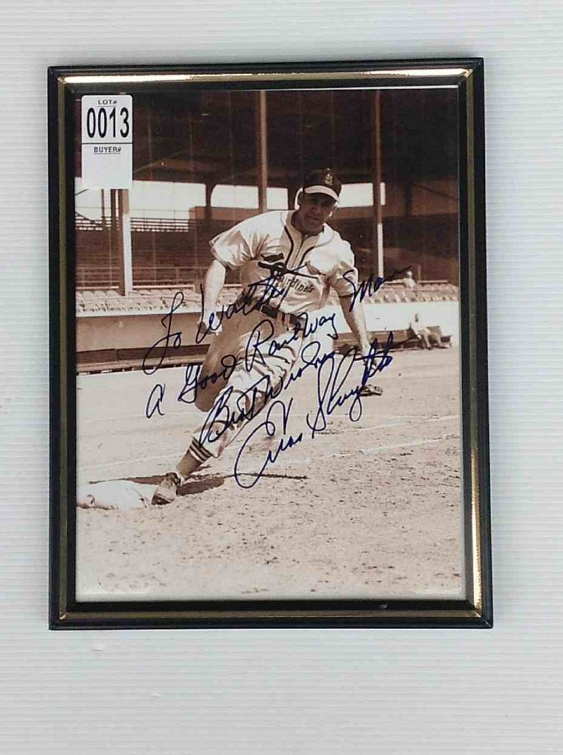 "ENOS SLAUGHTER SIGNED PHOTOGRAPH TO WALTER RICH, 11"" X"