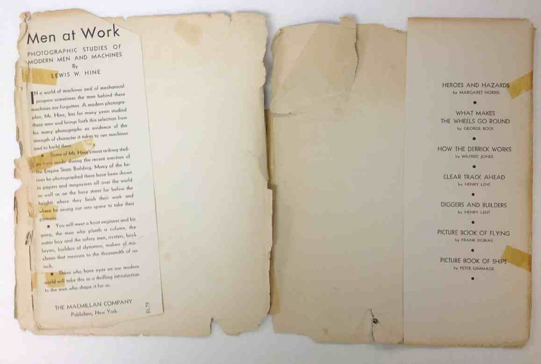 LEWIS W HINE MEN AT WORK 1932, MACMILLAN & CO., 1ST - 3