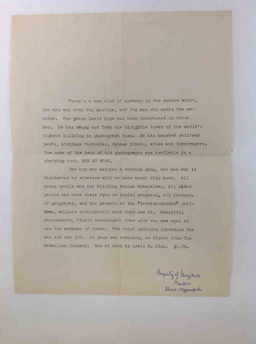 LEWIS W HINE MEN AT WORK 1932, MACMILLAN & CO., 1ST - 5