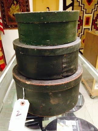 3 EARLY ROUND PANTRY BOXES IN OLD GREEN PAINT, MEASURE