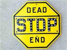 CIRCA 50S STOP DEAD END SIGN WITH GLASS MARBLES REAL