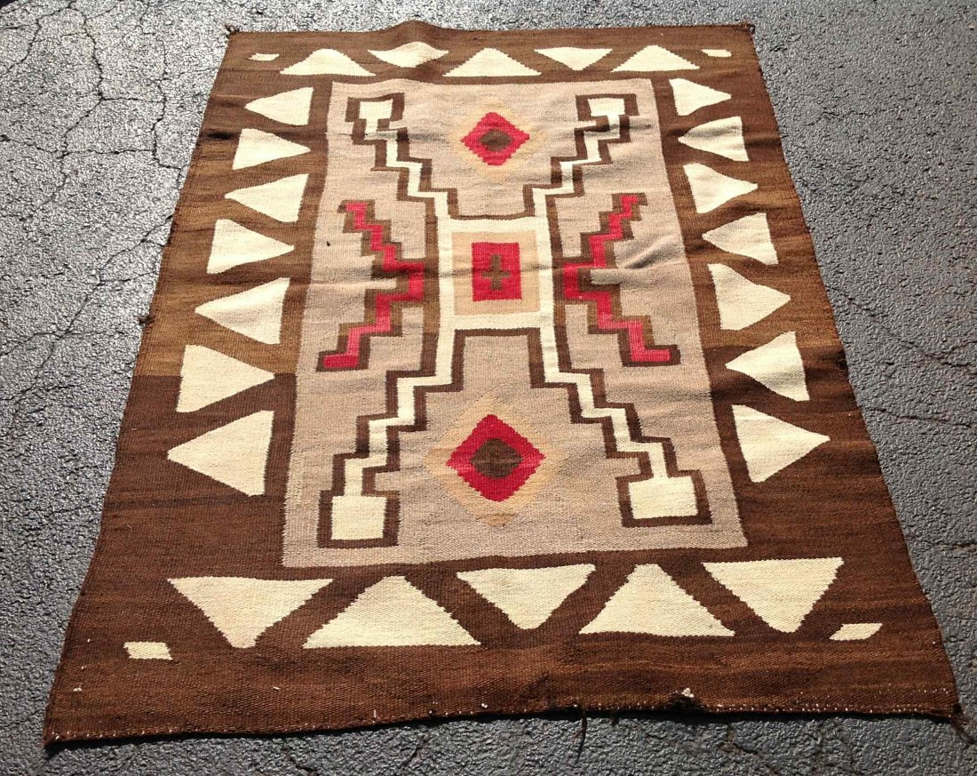 """OLDER INDIAN RUG, MEASURES 65"""" X 43 1/2"""". NICE OVERALL"""
