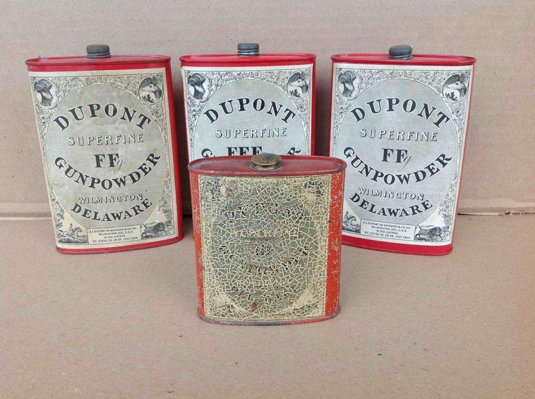 (4) EARLY DUPONT SUPERFINE FFF GUNPOWDER TINS,