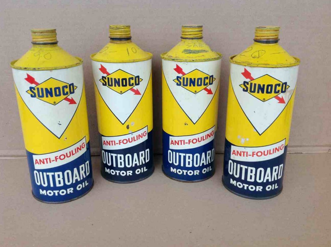 4 PINE TOP SUNOCO OUTBOARD MOTOR OIL CANS, FOUND IN