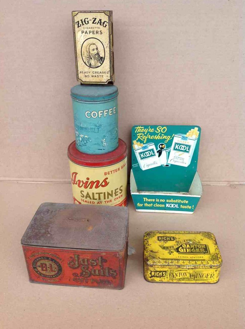 OLD ADVERTISING TIN LOT, AS PICTURED, SOME IN BETTER