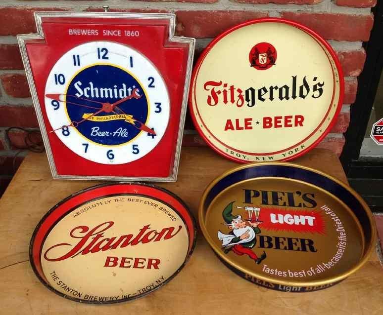 BEER ADVERTISING LOT, INCLUDES SCHMIDT'S CLOCK WHICH