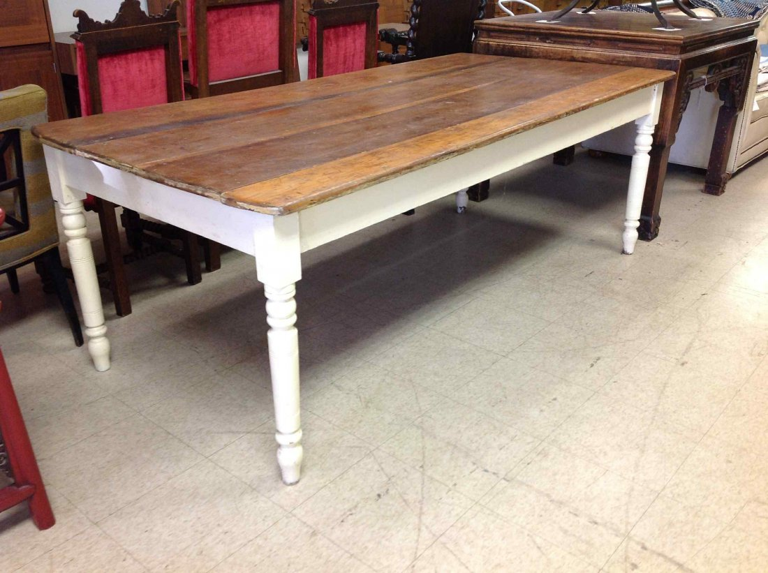 COUNTRY FARM TABLE, PAINTED WHITE LEGS, WORN PINE TOP,
