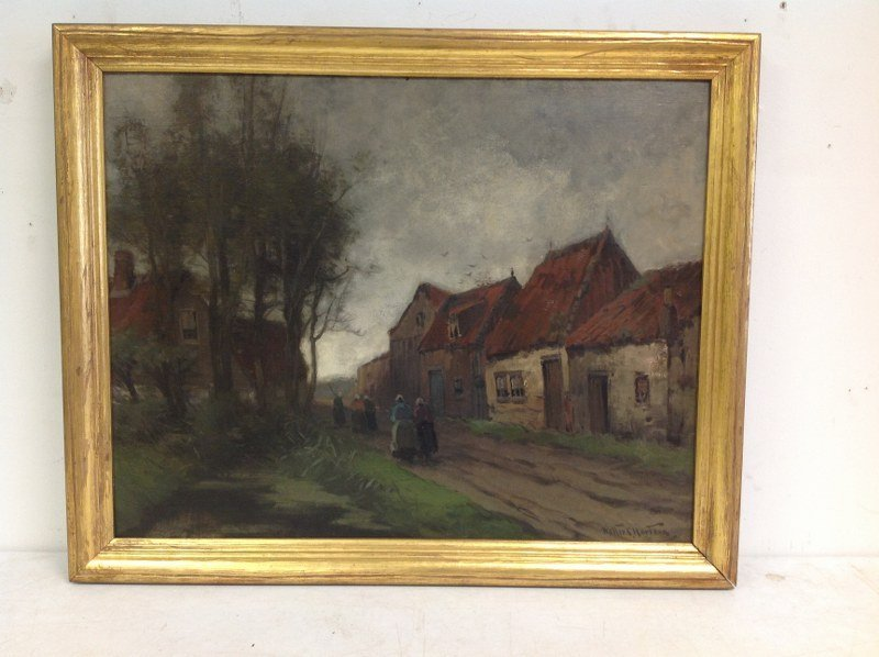 WALTER C HARTSON O/B EUROPEAN LANDSCAPE WITH HOUSES AND