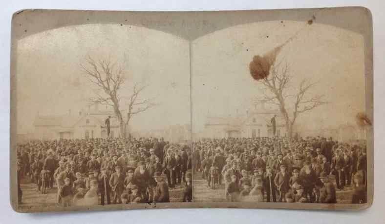 MAN HANGING STEREO CARD, H R FARR VIEWS OF MINNEAPOLIS