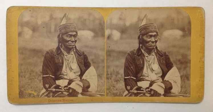 CHIPPEWA WARRIOR STEREO CARD BY CHARLES A  ZIMMERMAN,