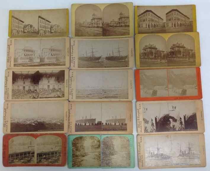 (14) MISC. STEREO CARDS INCLUDING STREET SCENES,