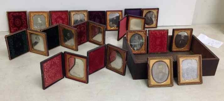(14) SIXTH PLATE DAGUERREOTYPES. SOME PARTIAL AND