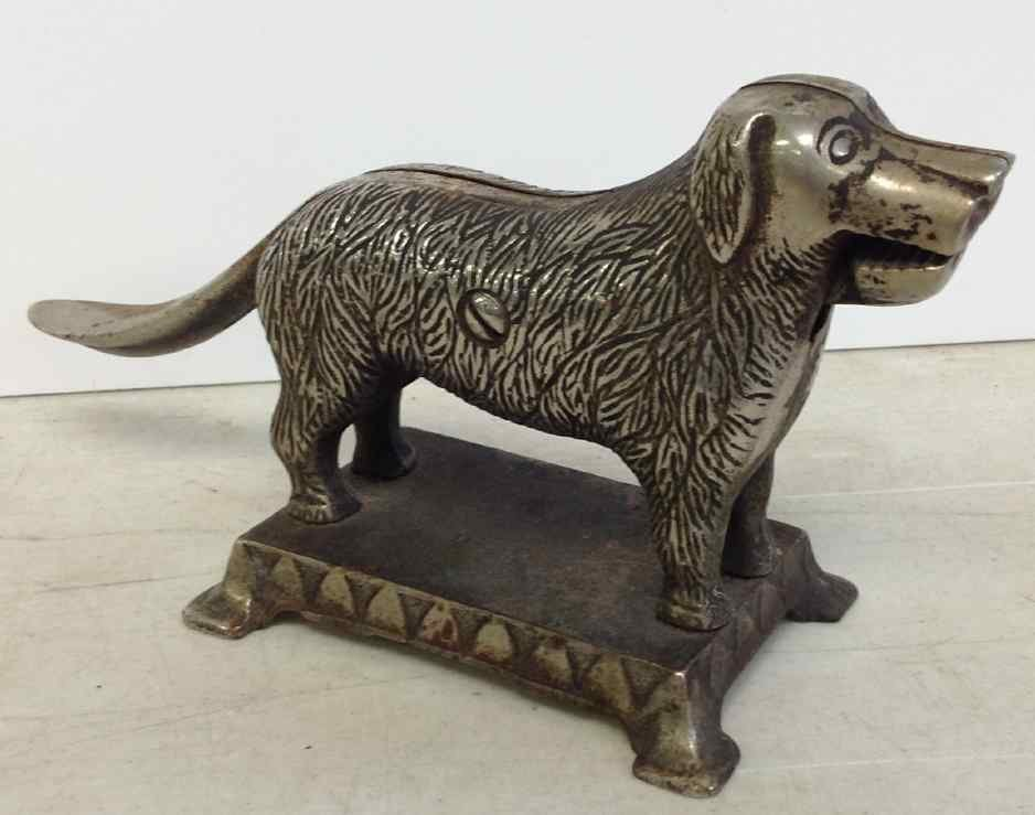 L A ALTHOFF FIGURAL DOG NUT CRACKER, CAST IRON, WITH