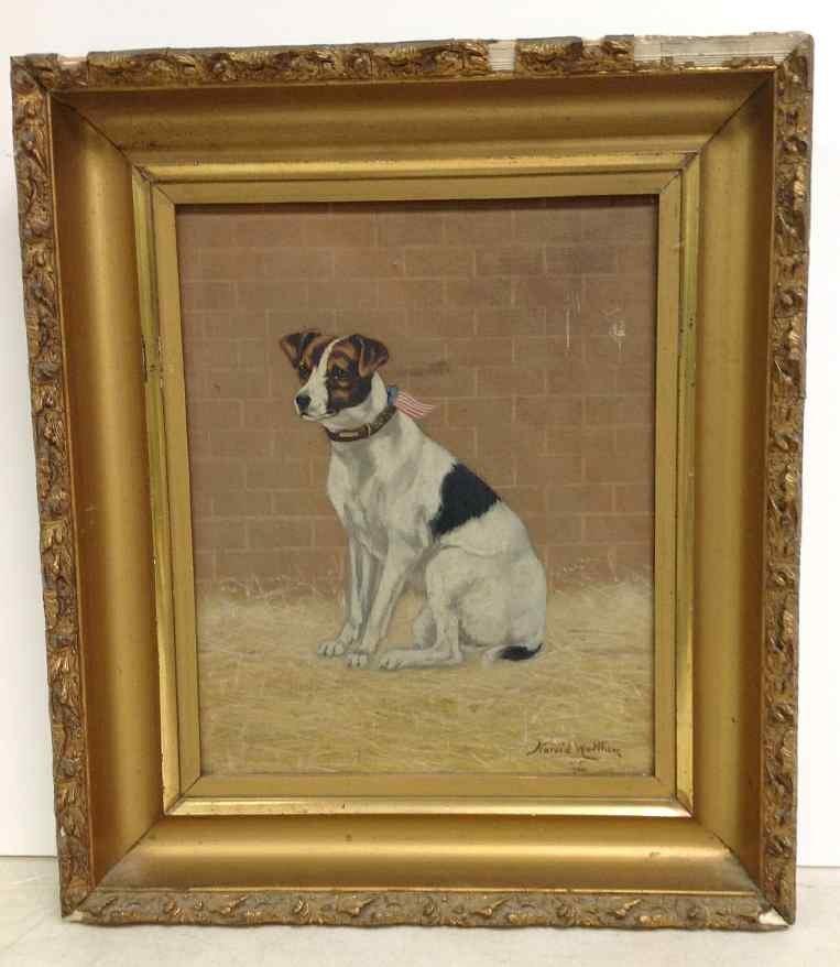 HAROLD WALTHEW O/C DOG SEATED WITH PATRIOTIC RIBBON