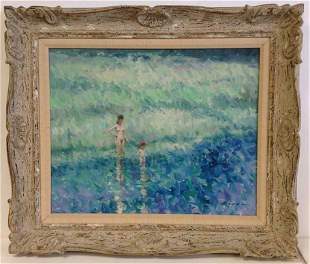 ANDRE GISSON IMPRESSIONIST O/C WOMAN & CHILD IN WATER,
