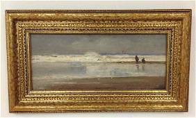 O/B SEASCAPE W/2 PEOPLE IN FOREGROUND, SIGNED