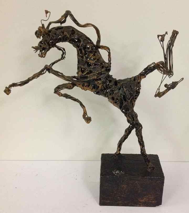 PACO VALLE MID CENTURY WIRE COATED HORSE SCULPTURE, ON