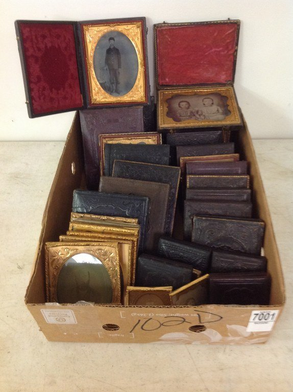 LOT OF 34 DAGUERREOTYPES & AMBROTYPES, INCLUDING 11