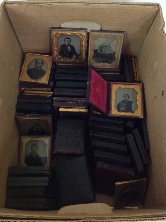 LOT OF 70 SIXTH-PLATES, NEARLY ALL AMBROTYPES, A FEW