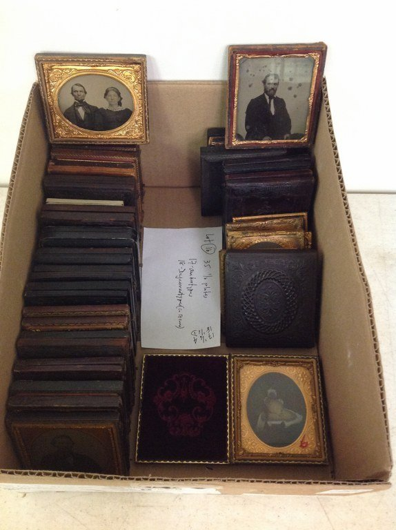 LOT OF 35 SIXTH-PLATE IMAGES, 18 DAGUERREOTYPES (IN 17