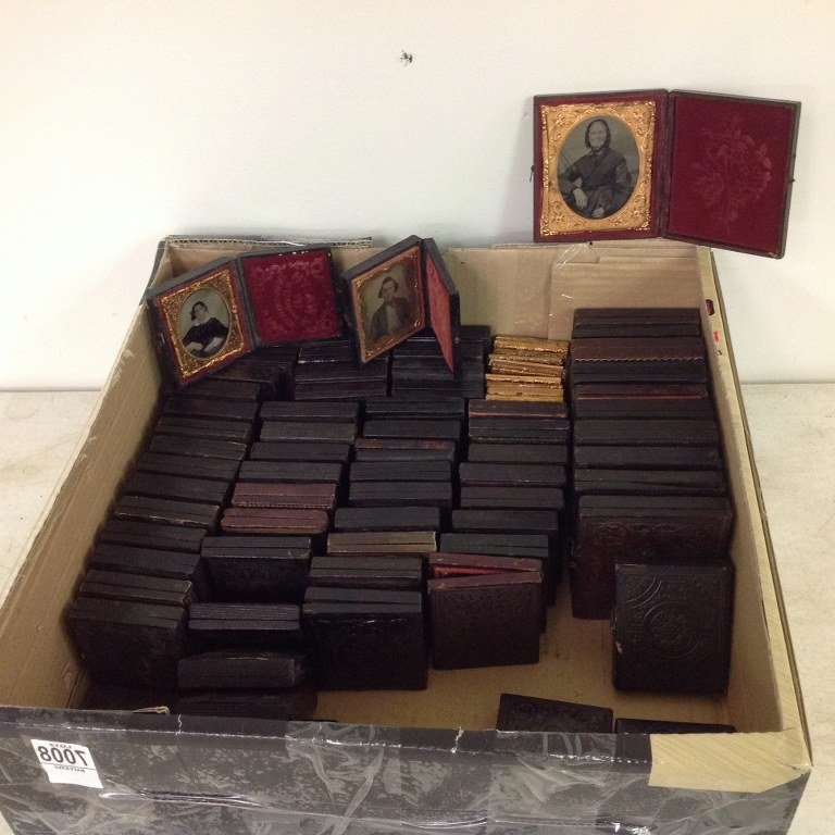 LOT OF 79 IMAGES, 12 SIXTH-PLATE AMBROTYPES IN 11