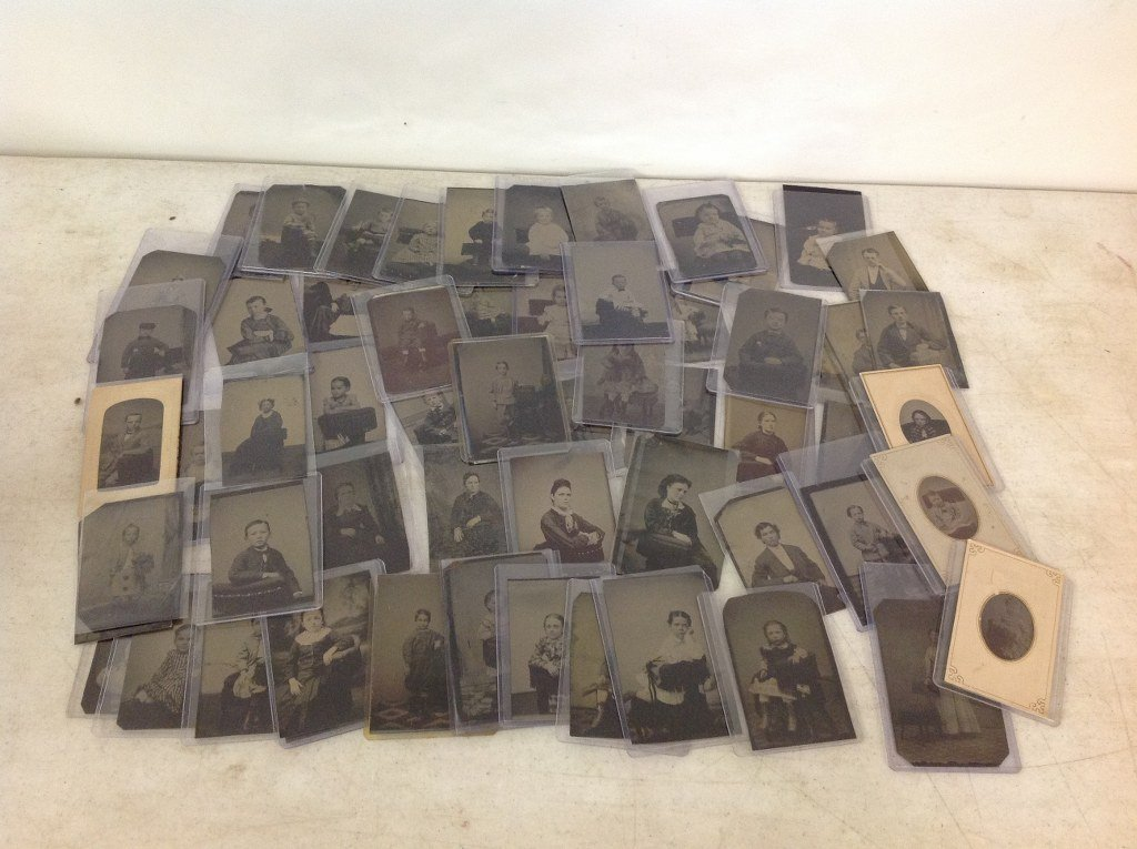 LOT OF 60 TINTYPES OF PEOPLE WITH STUDIO POSING CHAIRS,