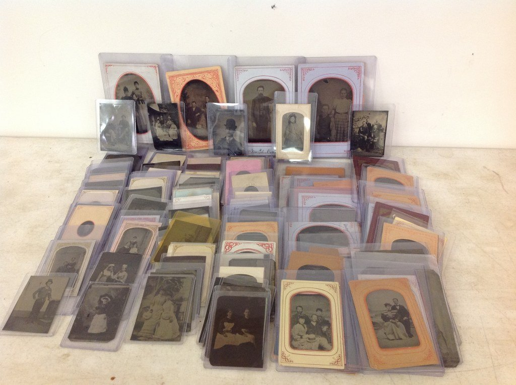 LOT OF 131 BETTER TINTYPES, FINE GROUP, ALL SIZES,