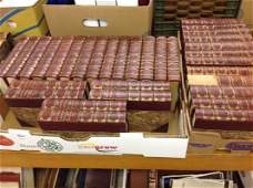 32 VOLS OF DICKENS WORKS LEATHER SPINE WITH MARBLE