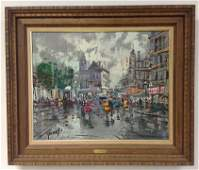 FRANCESCO GIORGI 1950S OC PARIS STREET SCENE CANVAS