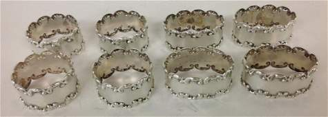 STERLING SILVER 8 VINTAGE MEXICAN NAPKIN RINGS 4