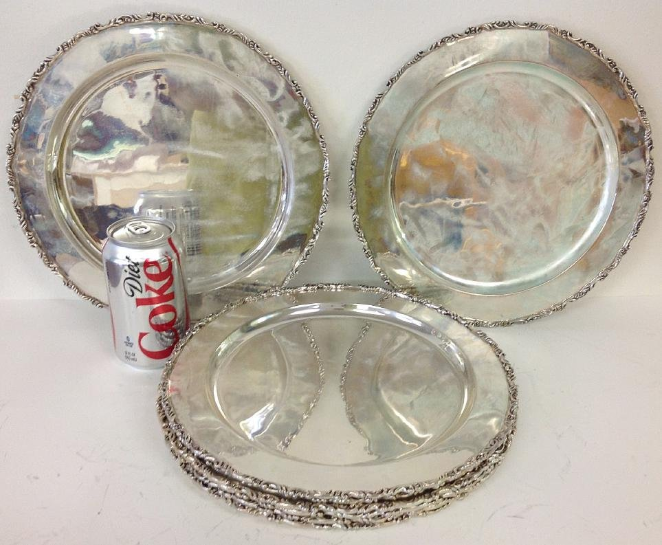 """STERLING (8) VINTAGE MEXICAN 11"""" DINNER PLATES, MARKED"""