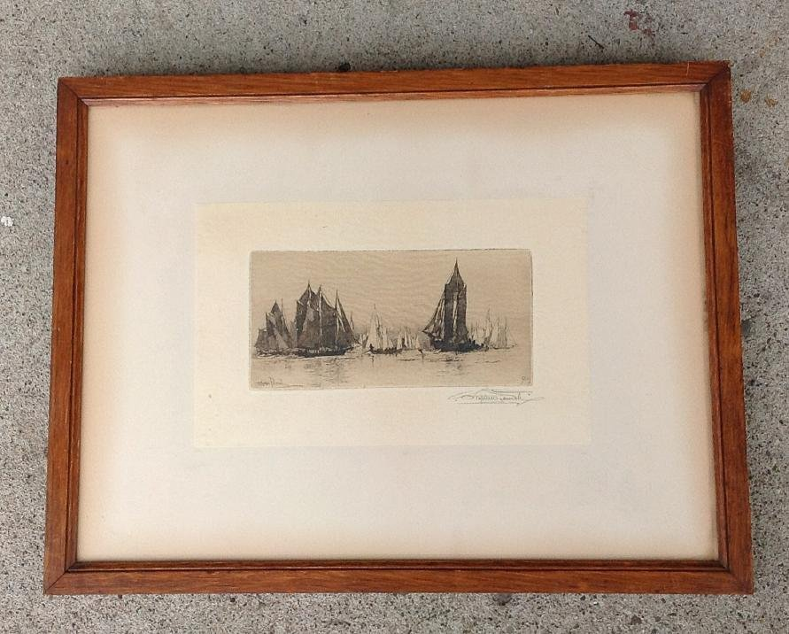 STEPHEN PARRISH SIGNED ETCHING OF SAILBOATS, PRINT