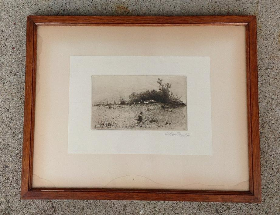 STEPHEN PARRISH SIGNED ETCHING OF WOMAN IN FIELD WITH