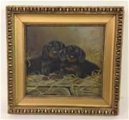 CIRCA 1930'S O/B 2 DOGS, SIGNED NADAY J (?). BOARD