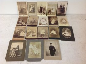 18 Cabinet Cards Of Kids With Dolls, Dogs, Teddy Bears,