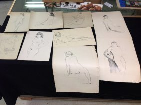 Lot Of Alfred Hutty Sketches Of Male And Female Nudes,