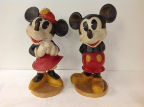 "Mickey Mouse & Minnie Mouse 18"" High Figures, Nicely"