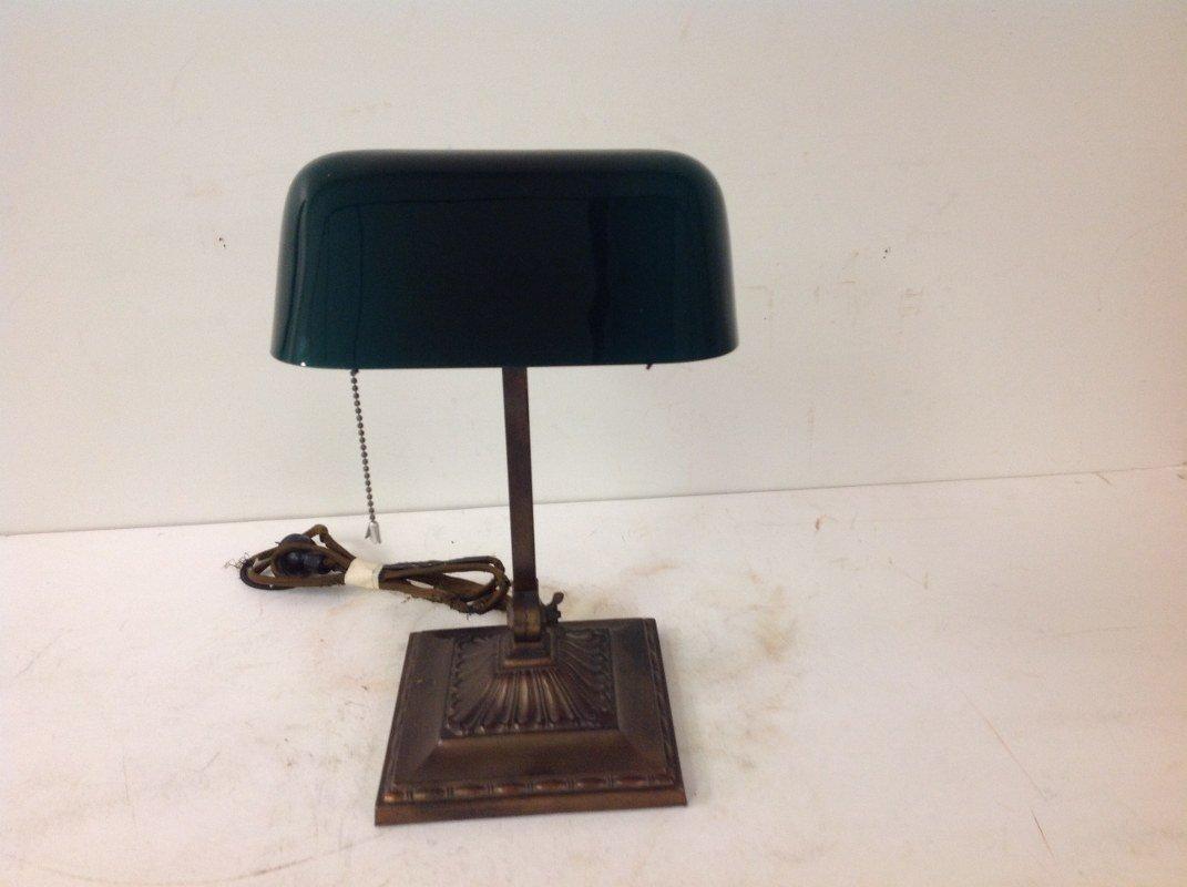 """EMERALITE DESK LAMP, WITH ORIGINAL SHADE. MEASURES 13"""""""
