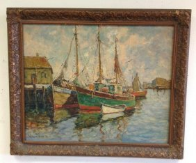 William Ward Jr O/c Seascape W/boats Docked, Canvas