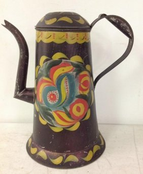 "Pennsylvania Dutch Tole Painted Coffee Pot 10 1/4"" High"