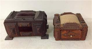 (2) FOLK ART TRAMP ART SEWING BOXES FROM HUDSON VALLEY