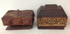 (2) Folk Art Tramp Art Boxes From Hudson Valley