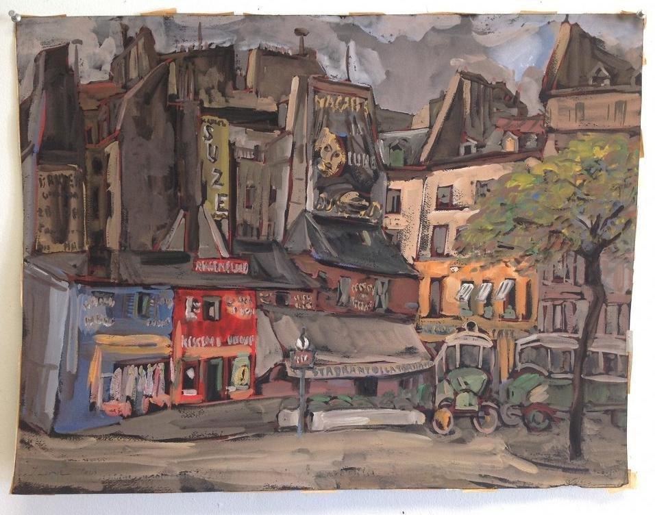 JOSEPH LEVIN PARIS STREET SCENE, GOUACHE ON PAPER,