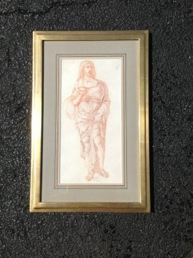 Early Red Chalk Drawing Of Man In Classical Attire