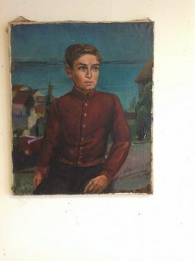 Frederic Serger O/c Portrait Of Young Man, Foreign