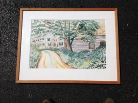 Joseph Pollet W/c Landscape With Houses, Nicely Framed
