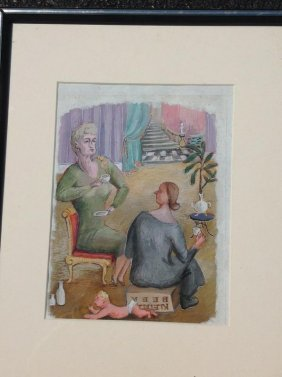 Seymour Chwast (?) Gouache On Board, 2 Women Drinking